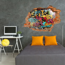 149 Wandtattoo Graffiti bunt - Loch in der Wand