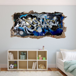 148 Wandtattoo Graffiti blau grau - Loch in der Wand