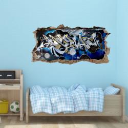 148 Wandtattoo Graffiti blau grau - Loch in der Wand