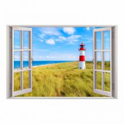 147 Wandtattoo Fenster - Leuchtturm Nordsee