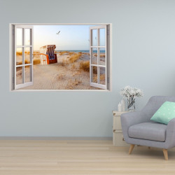 152 Wandtattoo Fenster - Ostsee Strandkorb Maritim