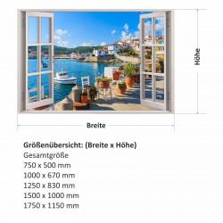 154 Wandtattoo Fenster - Mediterran Mittelmeer