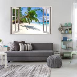 155 Wandtattoo Fenster - Palmen Strand Südsee