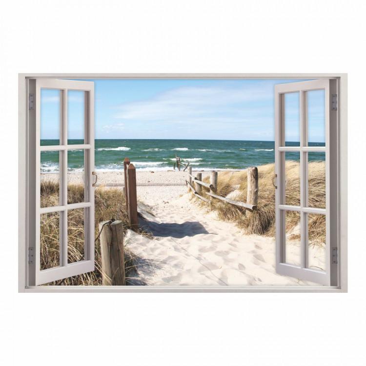 156 Wandtattoo Fenster - Weg zum Ostseestrand