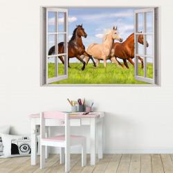 157 Wandtattoo Fenster - Pferde auf Wiese