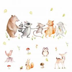 160 Wandtattoo Waldfreunde Bär, Maus, Fuchs, Waschbär und Hase
