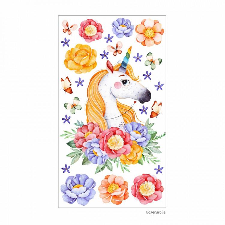 161 Wandtattoo Einhorn mit Blumen Regenbogen