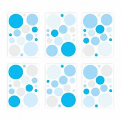 136 Wandtattoo Punkte-Set blau 96 Stück