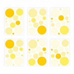 136 Wandtattoo Punkte-Set gelb 96 Stück