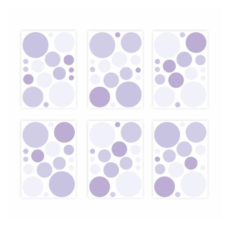136 Wandtattoo Punkte-Set lila 96 Stück