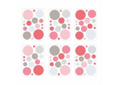 136 Wandtattoo Punkte-Set rosa 96 Stück