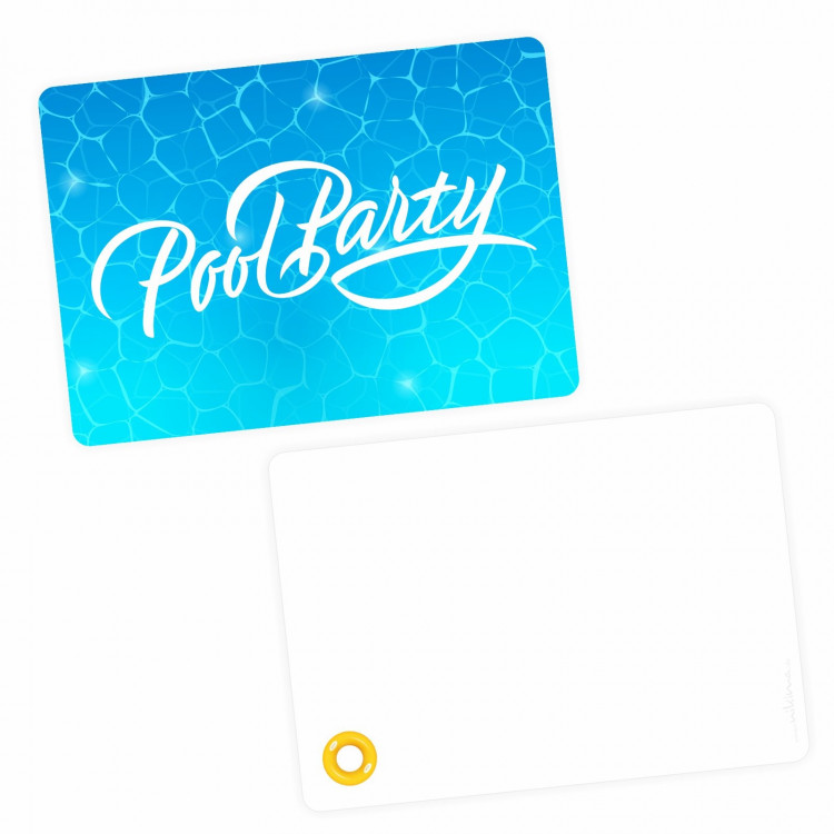 5 Einladungskarten Pool Party mit GLITZER inkl. 5 Briefumschlägen