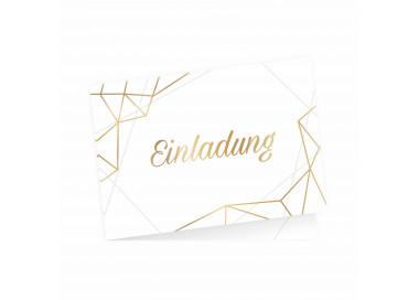 5 Klapp-Einladungskarten Linien Gold inkl. 5 weißen Briefumschlägen