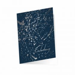 5 Klapp-Einladungskarten Splash Silber marine inkl. 5 weißen Briefumschlägen