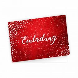 5 Klapp-Einladungskarten Rot Glitzer inkl. 5 weißen Briefumschlägen