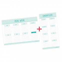 SET Wochenplaner + Einkaufsliste mint