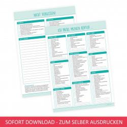 SOFORT DOWNLOAD - A4 Reisepackliste mint - farbig und schwarz weiß - Checkliste