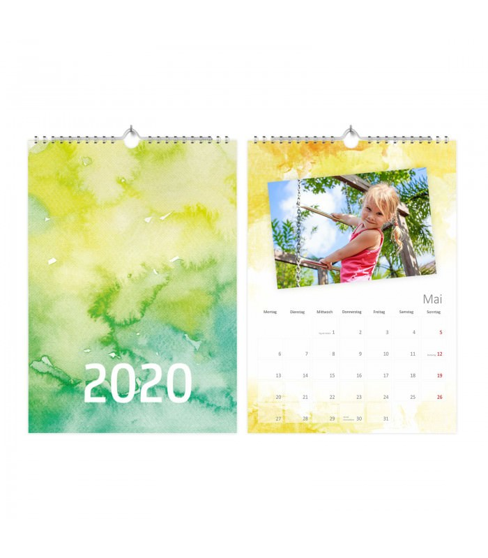 fotokalender bastelkalender watercolor mit feiertagen 2020. Black Bedroom Furniture Sets. Home Design Ideas