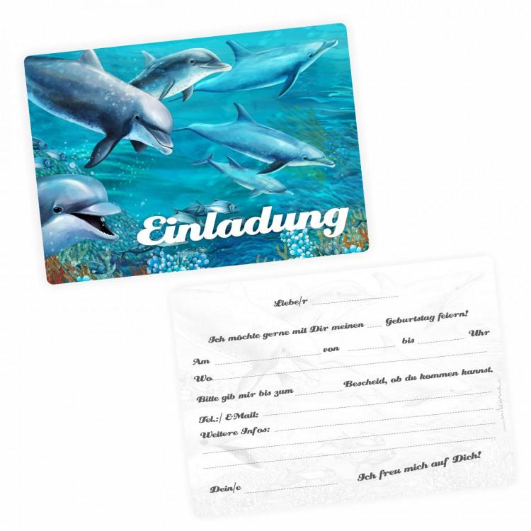 5 Einladungskarten Delfine mit GLITZER inkl. 5 Briefumschlägen