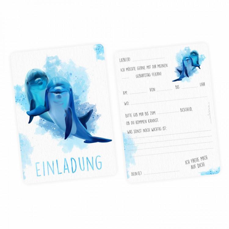 5 Einladungskarten Delfine blau/ weiß mit GLITZER inkl. 5 Briefumschlägen