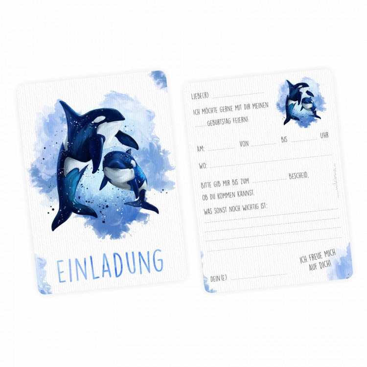 5 Einladungskarten Orca blau/ weiß mit GLITZER inkl. 5 Briefumschlägen