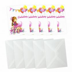 5 Einladungskarten Mädchen Geschenk Luftballons pink inkl. 5 transparenten Briefumschlägen