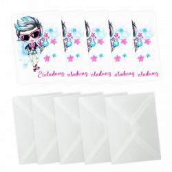 5 Einladungskarten cooles Mädchen Sterne pink türkis  inkl. 5 transparenten Briefumschlägen