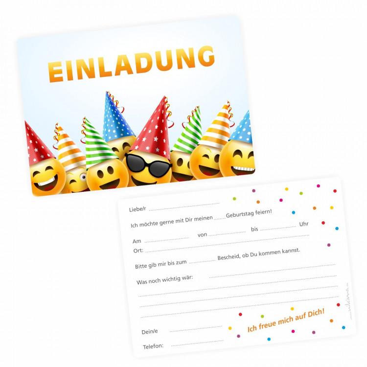 5 einladungskarten smily party inkl. 5 transparenten