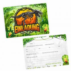 5 Einladungskarten Dinosaurier T-Rex inkl. 5 transparenten Briefumschlägen