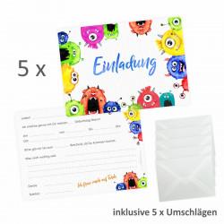 5 Einladungskarten Monster bunt inkl. 5 transparenten Briefumschlägen
