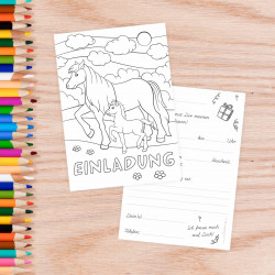 5 Einladungskarten zum ausmalen Pferde Pony inkl. 5 transparenten Briefumschlägen