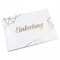 1 Klapp-Einladungskarte Linien Gold inkl. 1 weißen Briefumschlag