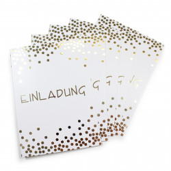 5 Klapp-Einladungskarten Punkte Gold inkl. 5 weißen Briefumschlägen