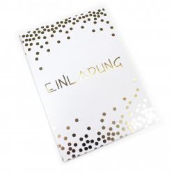 1 Klapp-Einladungskarte Punkte Gold inkl. 1 weißen Briefumschlag