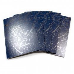 1 Klapp-Einladungskarte Splash Silber marine inkl. 1 weißen Briefumschlag