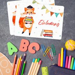 1 Einladungskarte zur Einschulung Fuchs inkl. 1 transparenten Briefumschlag Einladung Junge Mädchen