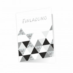 5 Klapp-Einladungskarten Dreicke Glitzer inkl. 5 weißen Briefumschlägen