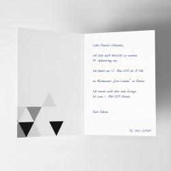 1 Klapp-Einladungskarte Dreiecke Glitzer inkl. 1 weißen Briefumschlag