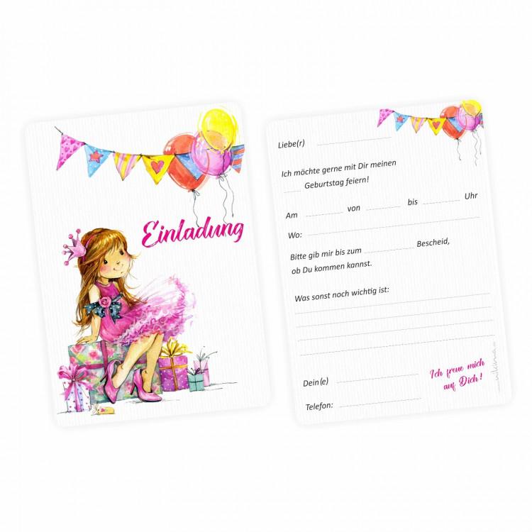 1 Einladungskarte Mädchen Geschenk Luftballons pink inkl. 1 transparenten Briefumschlag