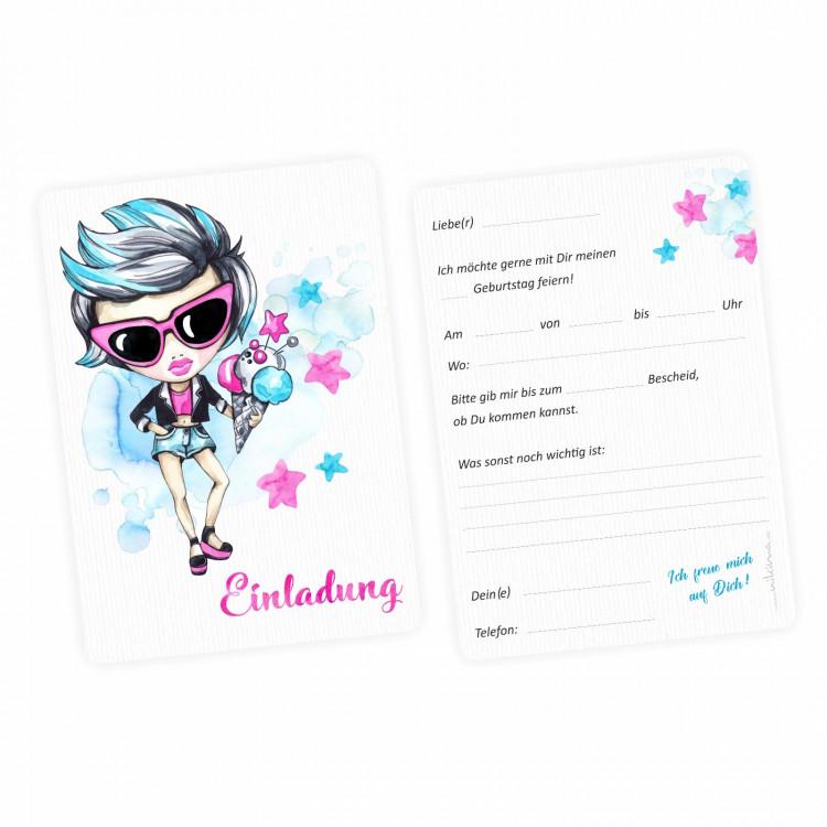 1 Einladungskarte cooles Mädchen Sterne pink türkis  inkl. 1 transparenten Briefumschlag
