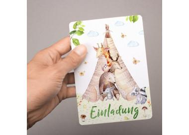 5 Einladungskarten Tipi Zelt Tierfreunde inkl. 5 transparenten Briefumschlägen