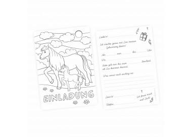 1 Einladungskarte zum ausmalen Pferde Pony inkl. 1 transparenten Briefumschlag