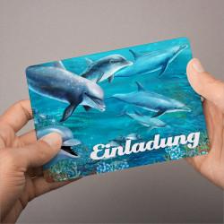 1 Einladungskarte Delfine mit GLITZER inkl. 1 Briefumschlag