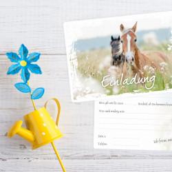 5 Einladungskarten Pferde weiter Rahmen inkl. 5 transparenten Briefumschlägen