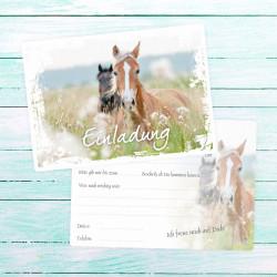 1 Einladungskarte Pferde weißer Rahmen inkl. 1 transparenten Briefumschlag