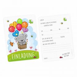 5 Einladungskarten Teddy Luftballons inkl. 5 transparenten Briefumschlägen