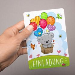 1 Einladungskarte Teddy Luftballons inkl. 1 transparenten Briefumschlag