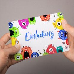 1 Einladungskarte Monster bunt inkl. 1 transparenten Briefumschlag