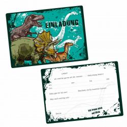 5 coole Einladungskarten Dinosaurier T-Rex Triceratops inkl. 5 transparenten Briefumschlägen