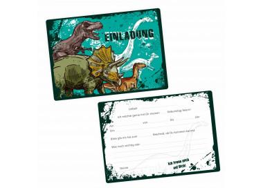 1 coole Einladungskarte Dinosaurier T-Rex Triceratops inkl. 1 transparenten Briefumschlag